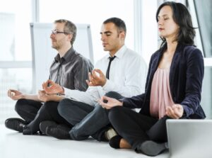 meditating in the office